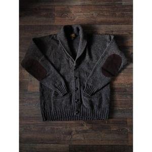 Eddie Bauer Brown VTG Wool Elbow Patch Cardigan L